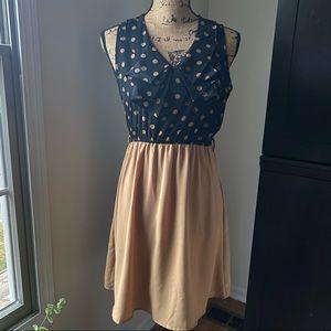 ModCloth Tan & Black Polka Dot Dress Size Small